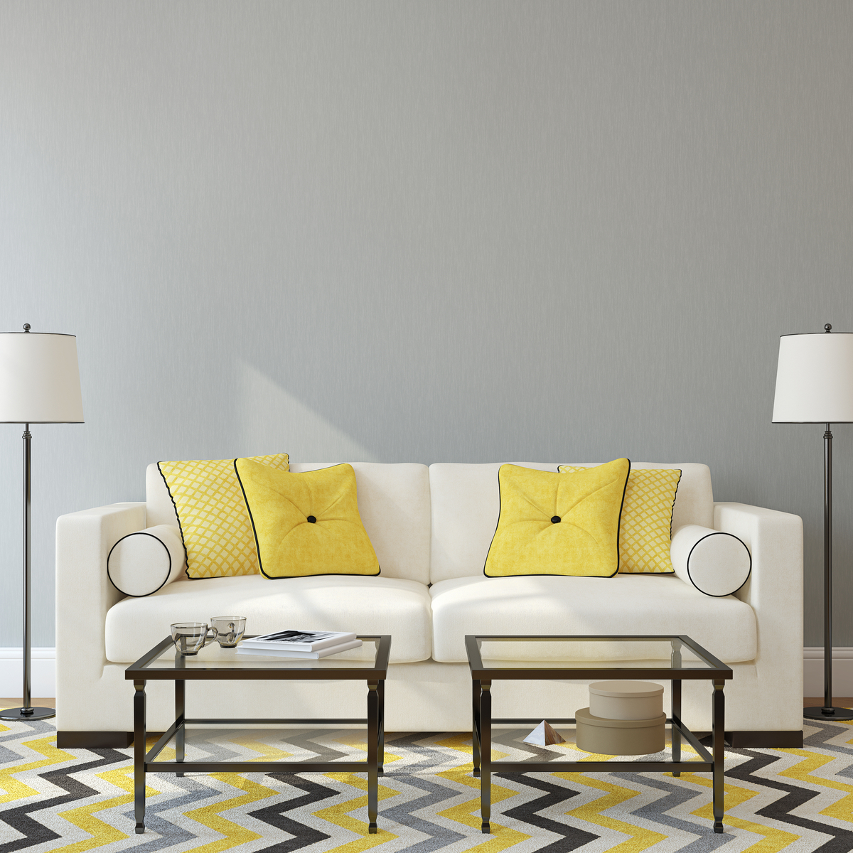 luxurious white couch with yellow cushions