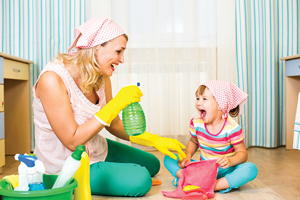 having your kids help with cleaning